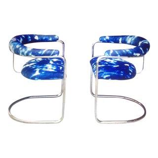 Anton Lorenz Style Chrome & Indigo Chairs - a Pair