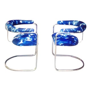 Anton Lorenz Style Chrome & Indigo Chairs - a Pair