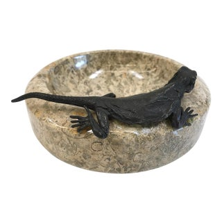 Vintage Fossilstone Ashtray With Bronze Lizard