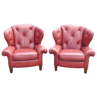 Red Leather Tufted Wingback Chairs - A Pair