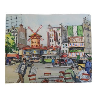 Signed Watercolor 'Moulin Rouge on Place Blanche in Montmartre'