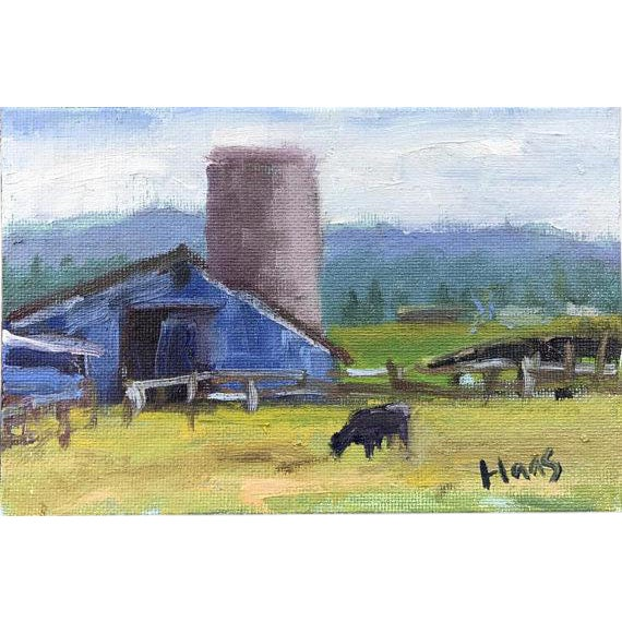 """Petaluma Blue Barn & Cow"" Painting - Image 1 of 11"