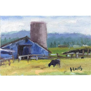 """Petaluma Blue Barn & Cow"" Painting"