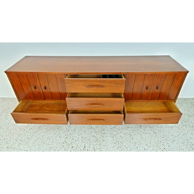 Mid Century Walnut Long Low Credenza - Image 9 of 11