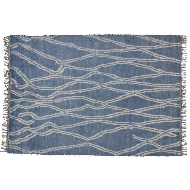 "Boho Chic Moroccan Style Shag Rug in Blue With Modern Tribal Style - 8'8"" X 12'2"" - Image 1 of 10"