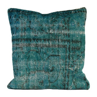 Vintage Teal Overdyed Pillow Cover 20x20 -Rug Pillowcase - Turkish Hand Knotted Rug