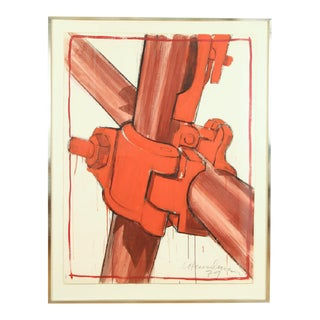 "Casper Henselmann ""The Clamp"" 1979 Acrylic & Mixed Media Drawing"