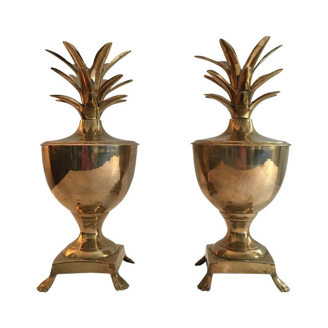 Vintage Brass Pineapple Urn Containers - A Pair - Image 1 of 6