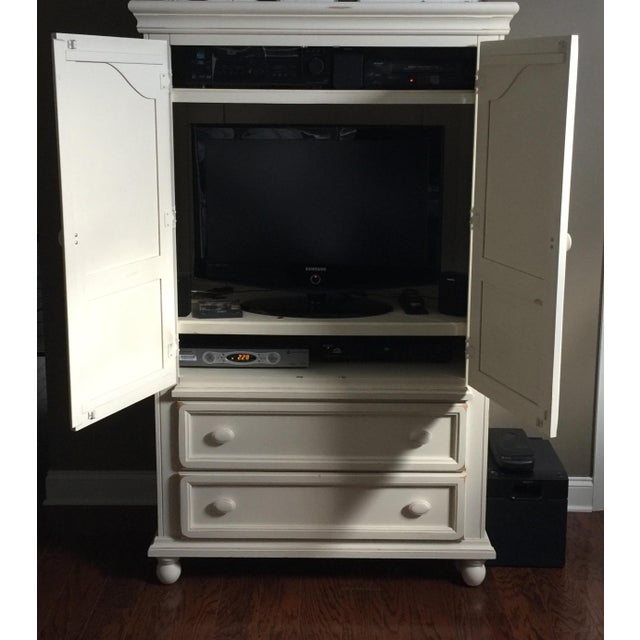 Shabby Chic White Wood Armoire - Image 3 of 4