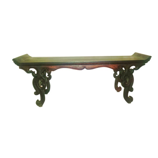 Small Antique Chinese Lacquered Wooden Altar Bench - Image 1 of 11