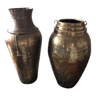 Brass Tassel Detail Vases - A Pair
