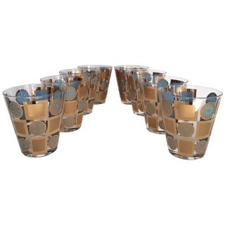 Turquoise & Gold Cocktail Glasses - Set of 8