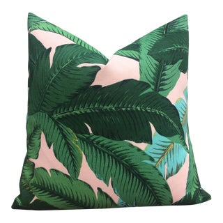 Pink Background Tropical Palm Leaf Pillow Cover - 20 x 20