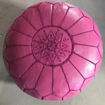 Image of Moroccan Pink Leather Pouf