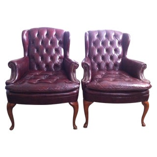 North Hickory Wingback Chairs Ox Blood - A Pair