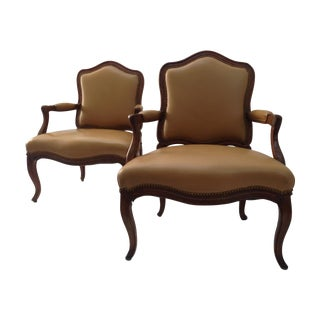 Maison Jansen Style Leather Bergere Chairs - Pair