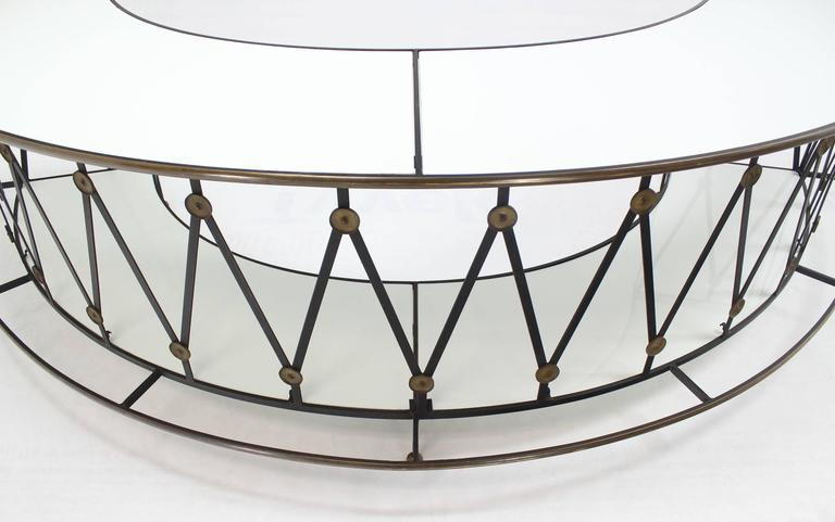 Gorgeous Wrought Iron Brass Milk Glass Half Round Bar Serving Table   Image  8 Of 10