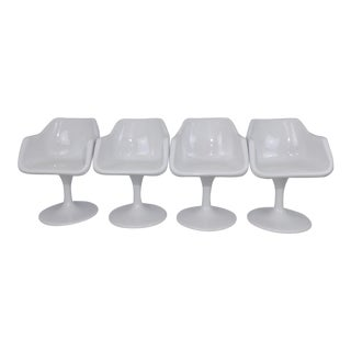 Burke Saarinen Mid-Century Modern Tulip Fiberglass Shell Egg Swivel Dining Seats - Set of 4