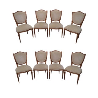 Gold Gilt Frame French Louis XVI Dining Chairs - Set of 8