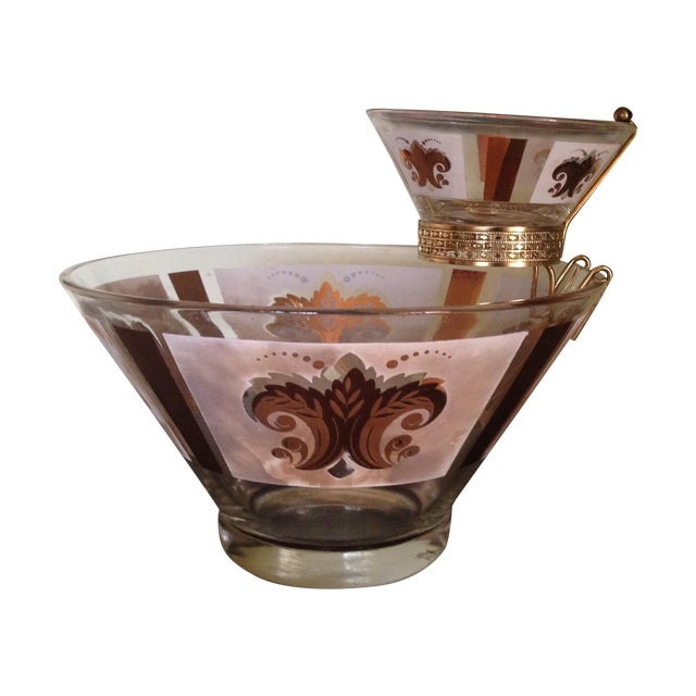 Mid-Century Glass Ice Bucket with Condiment Bowl - Image 1 of 11