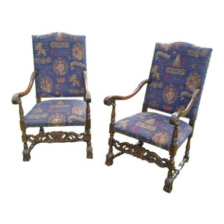 Navy Blue Carved Armchairs - A Pair