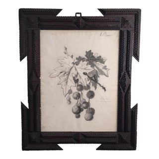 Tramp Art Frame With 19th Century French Drawing