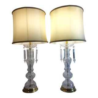1950's Italian Lead Crystal Table Lamps - A Pair