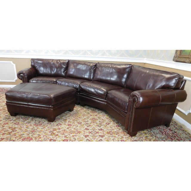 3 piece bernhardt brown leather sectional sofa ottoman for 3 piece brown sectional sofa