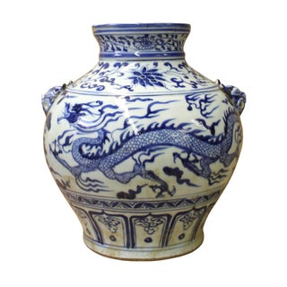 Chinese Blue White Porcelain Dragon Scenery Small Foo Dog Accent Vase Jar