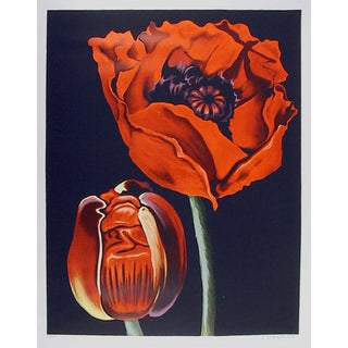 "1980 ""Red Poppies"" Print by Lowell Nesbitt"