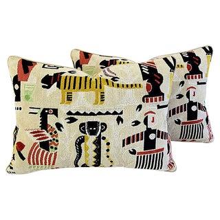 Custom Tailored Clarence House Velvet Fabric Pillows - Pair
