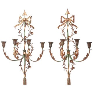 Pair of Italian Painted and Gilded Iron Foliate Sconces