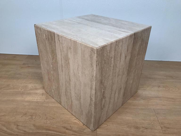 Italian Travertine Cube Side Table Pedestal   Image 2 Of 3