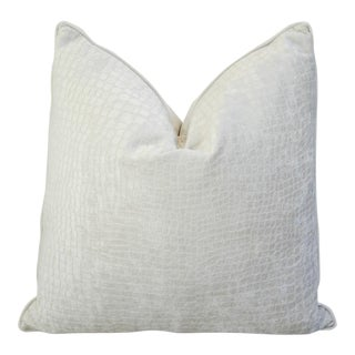 Modern Boho Chic White Crocodile Textured Velvet Pillow