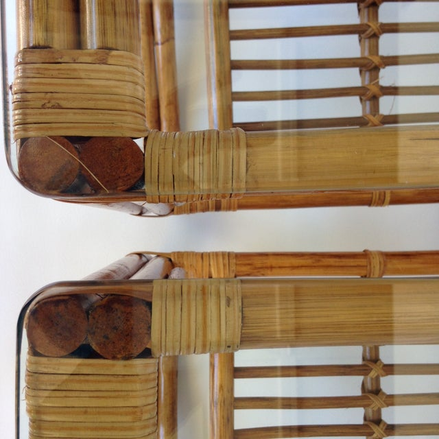 Image of Vintage Rattan & Bamboo Side Tables - A Pair