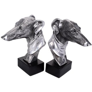 Pewter Greyhound Bookends - A Pair