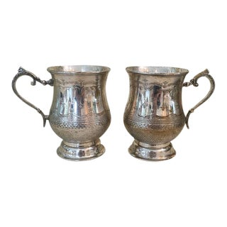 Vintage Etched Silver Plated Mugs Tankards - A Pair