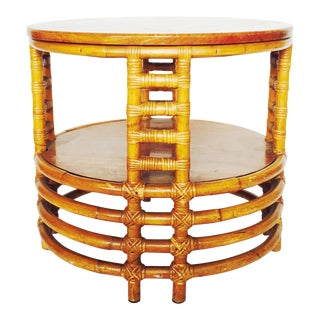 Vintage Round Bamboo Rattan Side Table