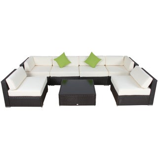 Modern Patio Rattan Sectional - Set of 7
