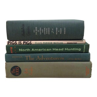Vintage Green Book Stack - Set of 5