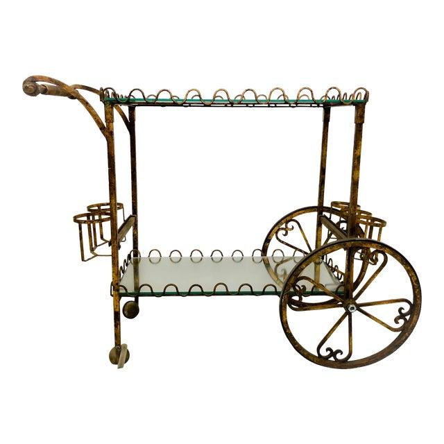 Hollywood Regency Italian Gilt Metal Bar Cart - Image 1 of 6