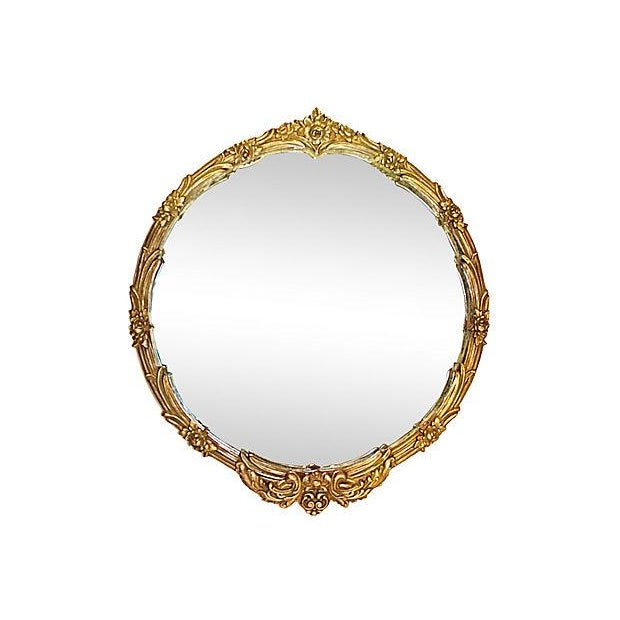 Image of 1920's Round Silver & Gilt Mirror