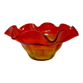Ruffled 1960s Mid Century Modern Tangerine Bowl Dish Wayne by Husted for Blenko