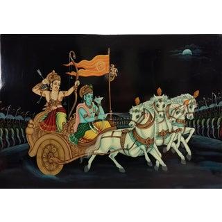 Hindu Krishna Arjun in Chariot Painting