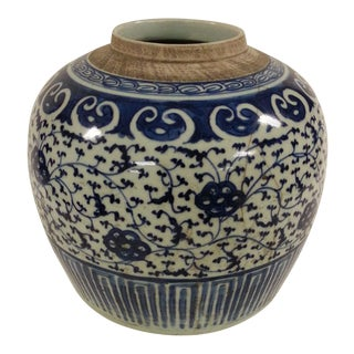 19th C. Blue & White Lotus Vase