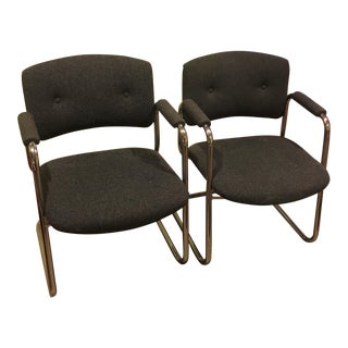 Mid-Century Office Chairs in Grey/Chrome - Pair