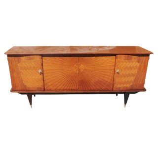 French Art Deco Exotic Rosewood Sunburst Sideboard / Buffet Circa 1940s