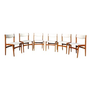 Vintage Mid-Century Danish Modern Solid Teak Dining Chairs - Set of 6