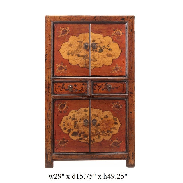 Chinese Rustic Orange Two Shelves Flower Cabinet - Image 5 of 5