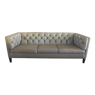 Hancock & Moore Tufted Gray Leather Chester Sofa